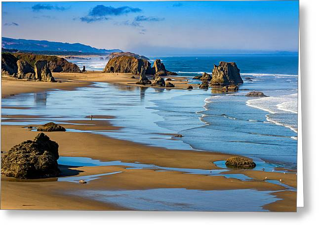 Bandon Beach Greeting Card by Darren  White