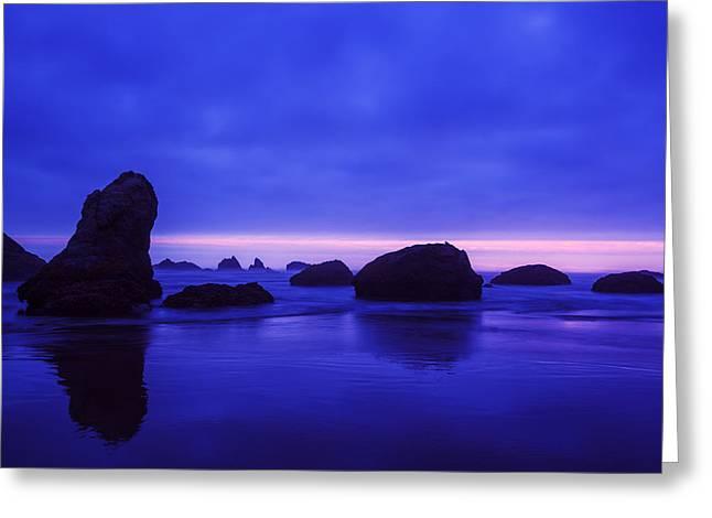 Bandon Beach Oregon Blue Sunset Greeting Card by Vishwanath Bhat