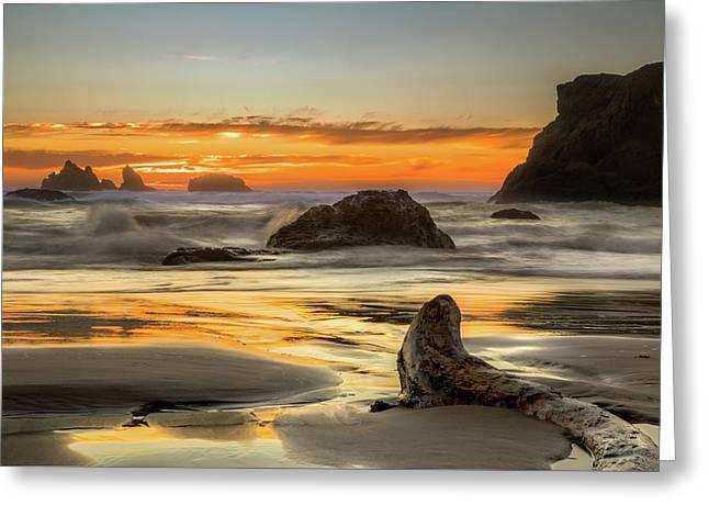 Bandon Orange Glow Sunset Greeting Card