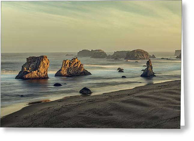 Bandon Sunrise Pano Greeting Card