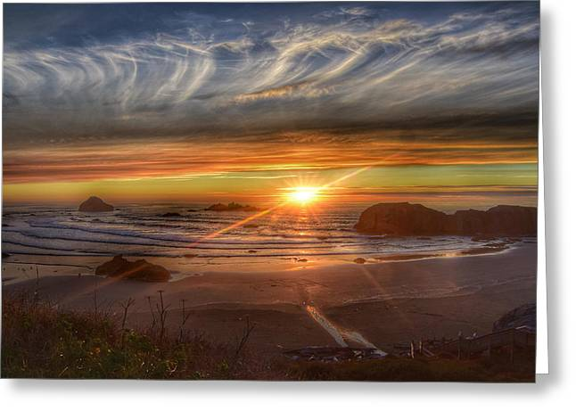 Greeting Card featuring the photograph Bandon Sunset by Bonnie Bruno