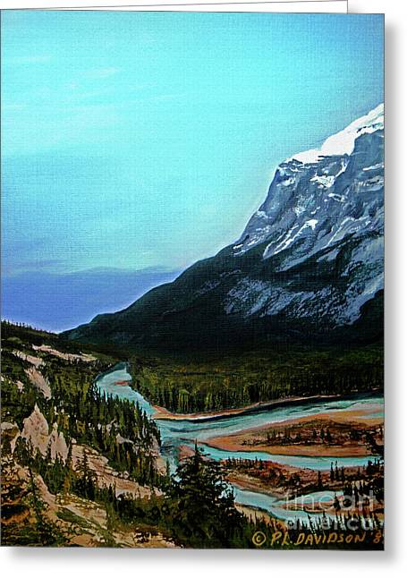 Greeting Card featuring the painting Banff Alberta Rocky Mountain View by Patricia L Davidson