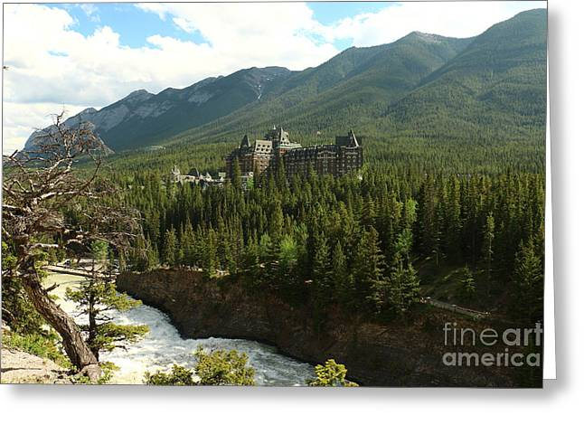 Banff Springs Hotel And Bow River Greeting Card by Christiane Schulze Art And Photography