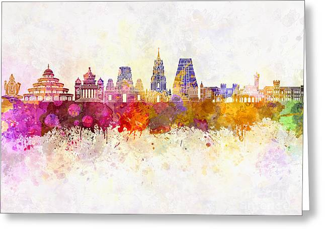 Bangalore Skyline In Watercolor Background Greeting Card by Pablo Romero