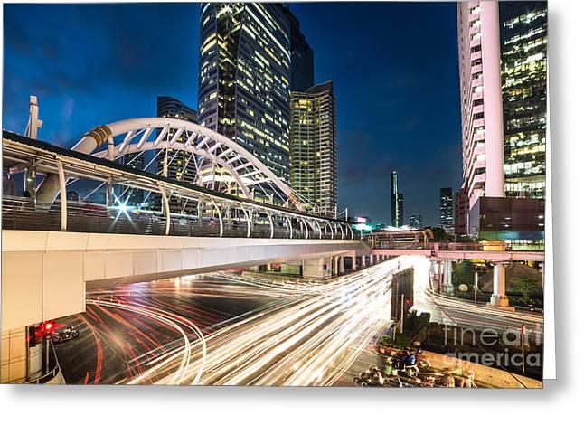 Bangkok Night Rush  Greeting Card