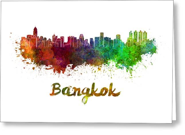 Bangkok Skyline In Watercolor Greeting Card by Pablo Romero