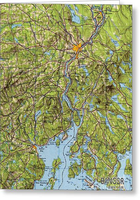 Bangor Maine 1948 Old Map Poster Greeting Card by Pablo Franchi
