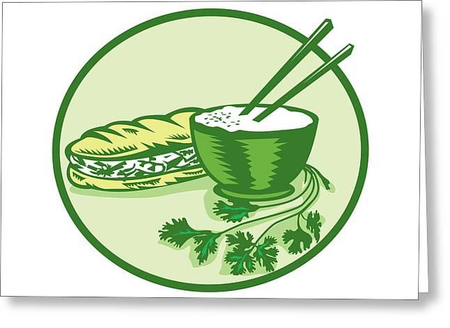 Banh Mi Rice Bowl Coriander Circle Retro Greeting Card