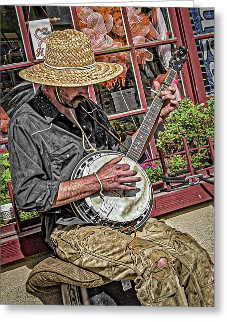 Banjo Man Orange Greeting Card