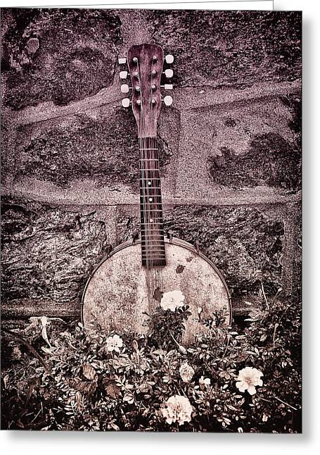Banjo Mandolin On Garden Wall Greeting Card by Bill Cannon
