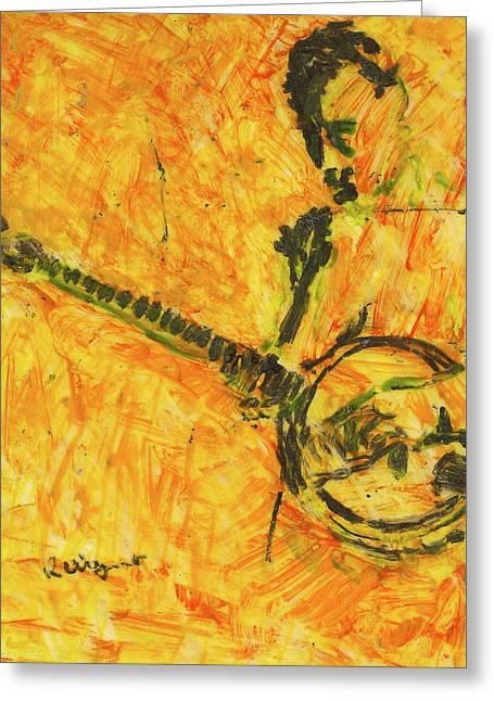 Banjo Player Greeting Card by Richard Wynne