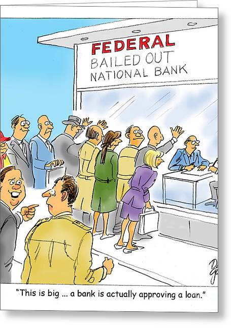 Bank Loans Greeting Card by David Lloyd Glover