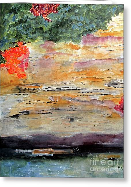 Greeting Card featuring the painting Bank Of The Gauley River by Sandy McIntire