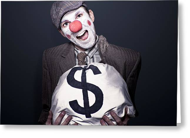 Bank Robber Clown Running With Bag Of Funny Money Greeting Card by Jorgo Photography - Wall Art Gallery