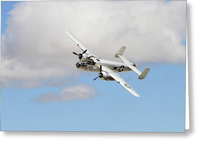Banking B-25 Greeting Card by Shoal Hollingsworth