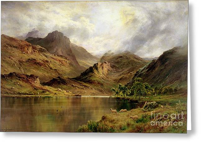 Craggy Greeting Cards - Banks of Arrochar Greeting Card by Alfred de Breanski