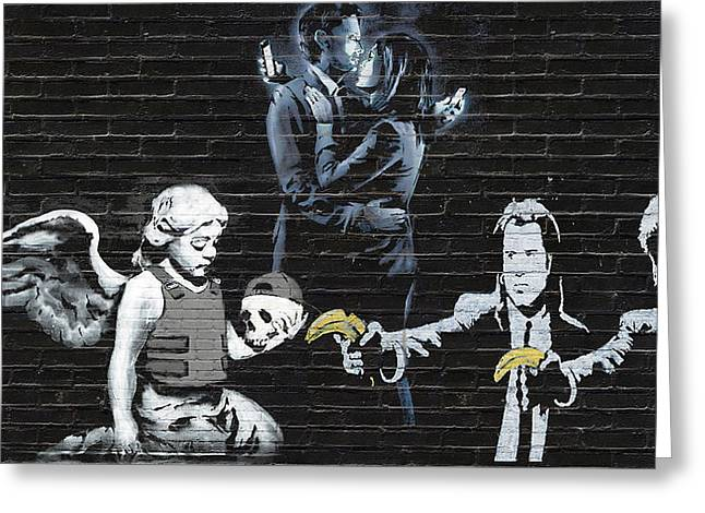 Banksy - The Tribute - Failure To Communicate Greeting Card by Serge Averbukh