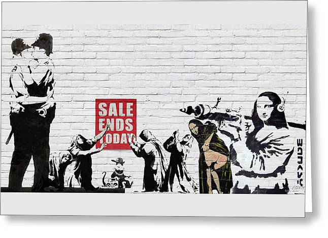 Banksy - The Tribute - Saints And Sinners Greeting Card by Serge Averbukh