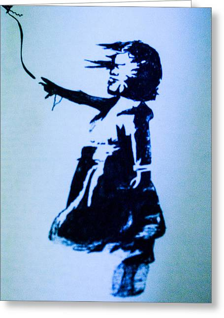 Banksy's Girl Greeting Card by Margo Kurtzke