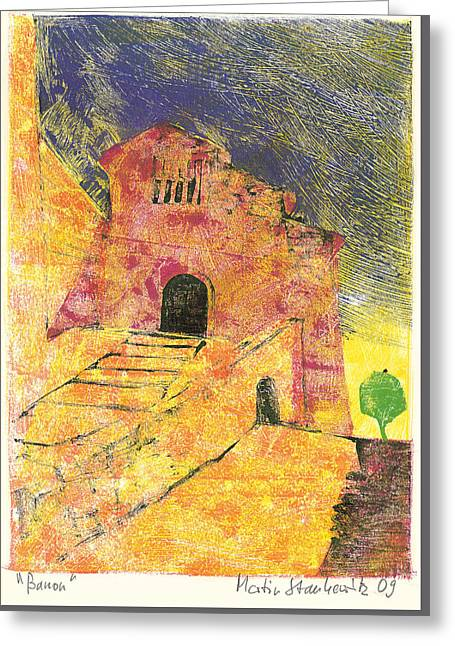 Greeting Card featuring the painting Banon Village In Provence by Martin Stankewitz