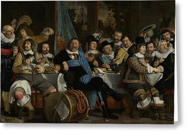 Banquet At The Crossbowmen's Guild Greeting Card by Celestial Images