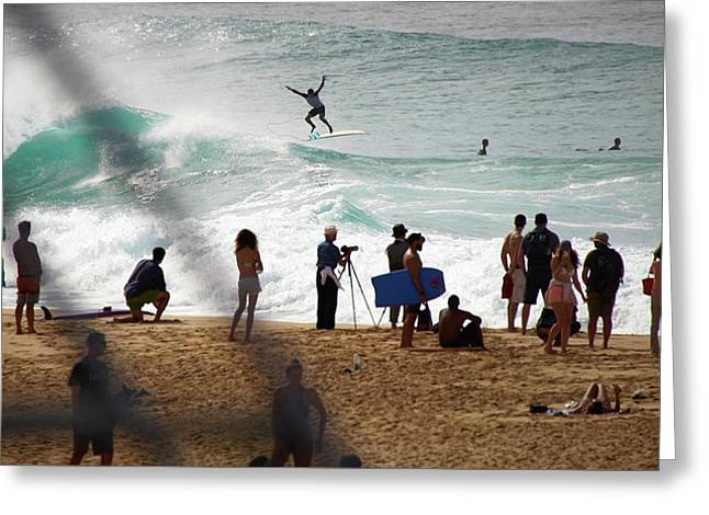 Banzai Pipeline Acrobats Greeting Card by Kevin Smith
