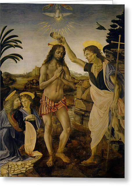 Baptism Of Christ Greeting Card by Leonardo da Vinci