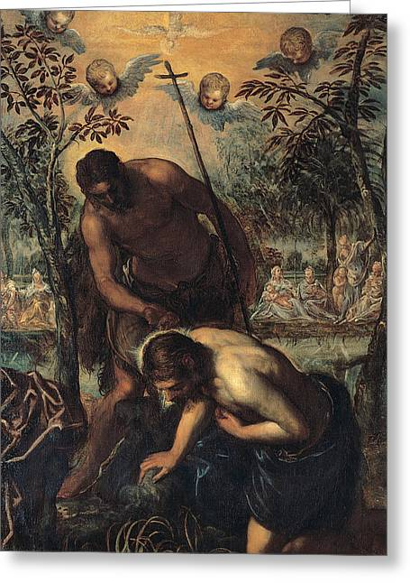 Baptism Of Christ Greeting Card by Tintoretto