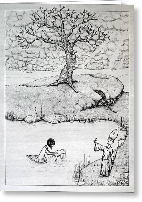 Greeting Card featuring the drawing Baptism Of Ted E. Bear by Josean Rivera