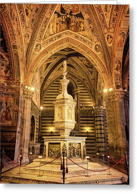 Greeting Card featuring the photograph Baptistery Siena Italy by Joan Carroll