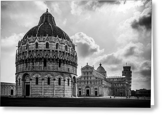 Baptistry Of St. John, Cattedrale Di Pisa, Leaning Tower Of Pisa, Italy Greeting Card