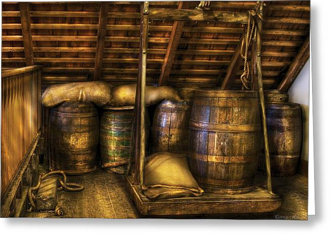 Bar - Wine Barrels Greeting Card by Mike Savad