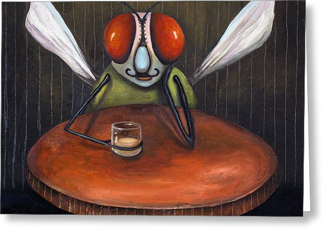 Bar Fly Greeting Card by Leah Saulnier The Painting Maniac