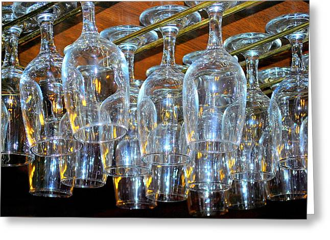 Bar Glasses Abstract. Greeting Card by Oscar Williams