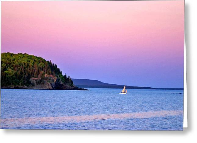 Greeting Card featuring the painting Bar Harbor Sunset by Larry Darnell