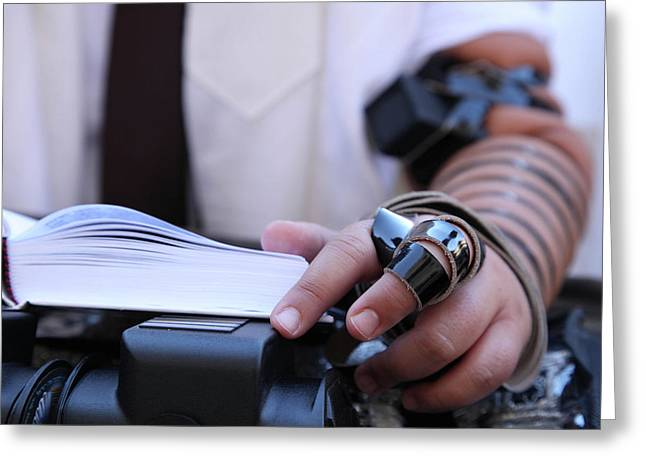 Greeting Card featuring the photograph Bar Mitzvah Celebration With Tefillin  by Yoel Koskas