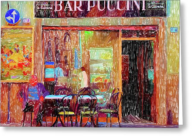 Bar Puccini Lucca Italy Greeting Card by Wally Hampton