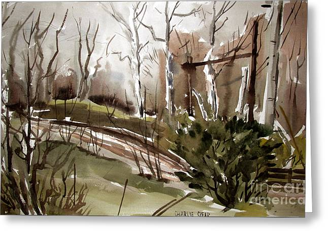 Bar S Ranch Cold January Sycamores Greeting Card by Charlie Spear