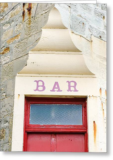 Bar Sign Greeting Card by Tom Gowanlock