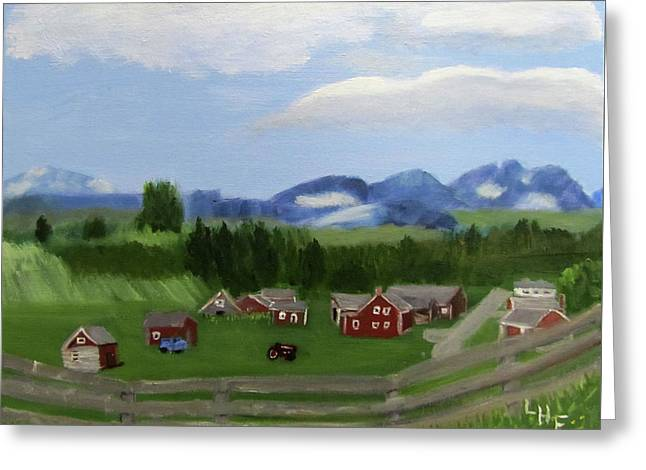 Greeting Card featuring the painting Bar U Ranch by Linda Feinberg