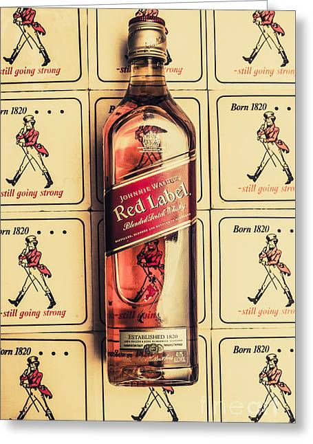 Bar Wall Art. Old Johnnie Walker Red Label Greeting Card