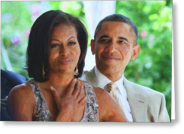 Barack And Michelle Obama Greeting Card by Asar Studios