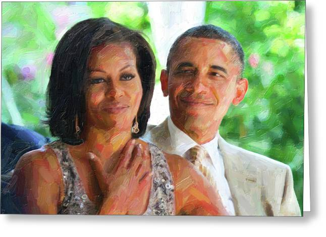 Barack And Michelle Obama Greeting Card by Celestial Images