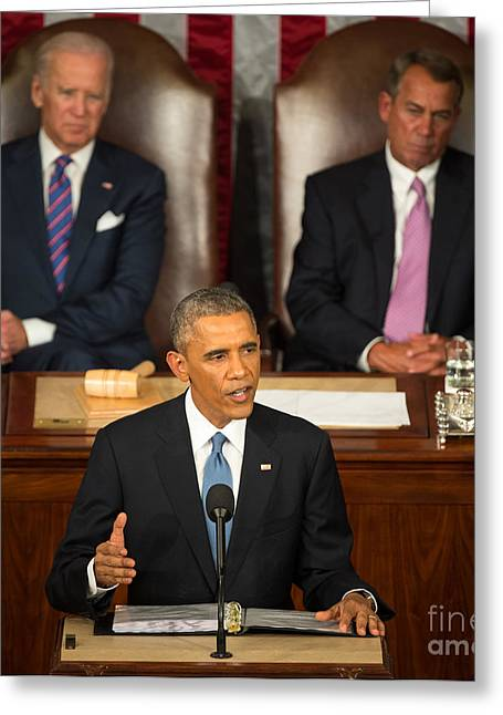 Barack Obama 2015 Sotu Address Greeting Card by Science Source