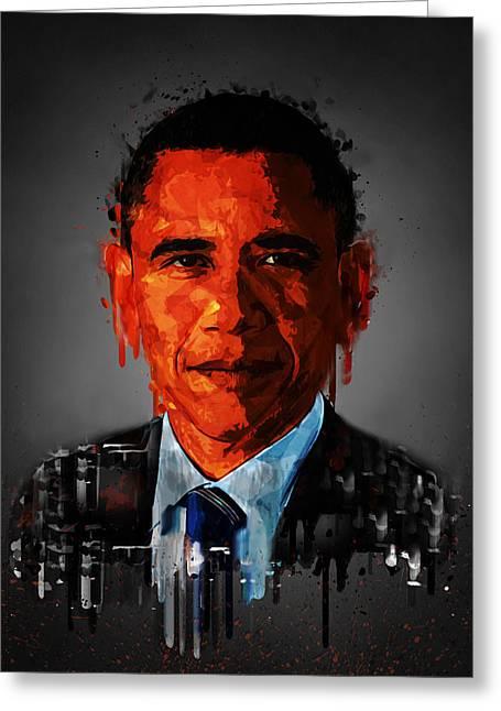 Barack Obama Acrylic Portrait Greeting Card by Georgeta Blanaru