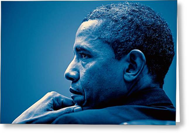 Barack Obama At White House 4 Greeting Card by Celestial Images