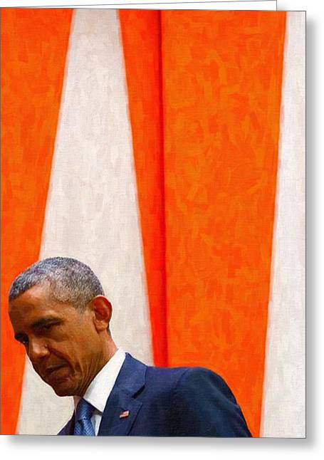 Barack Obama At White House 6 Greeting Card by Celestial Images
