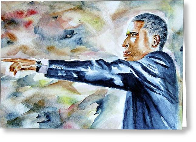 Barack Obama Commander In Chief Greeting Card by Brian Degnon