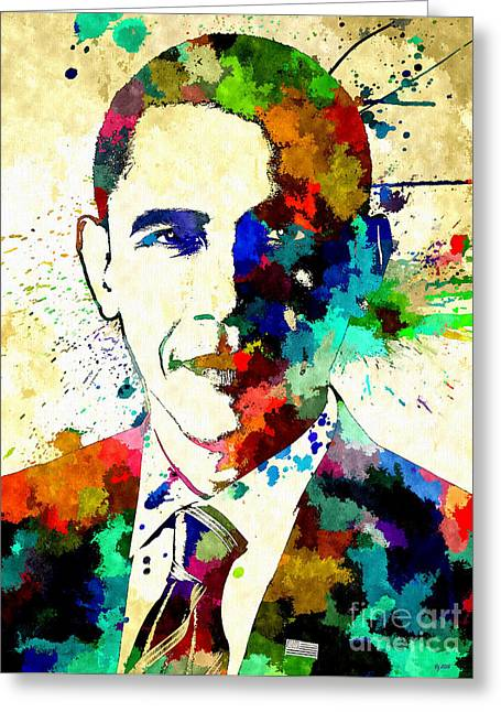 Barack Obama Grunge Greeting Card by Daniel Janda