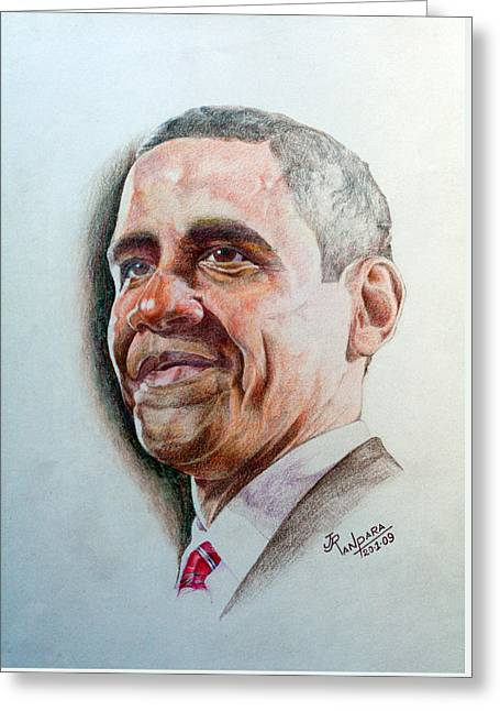 Barack Obama Greeting Card by Jayantilal Ranpara